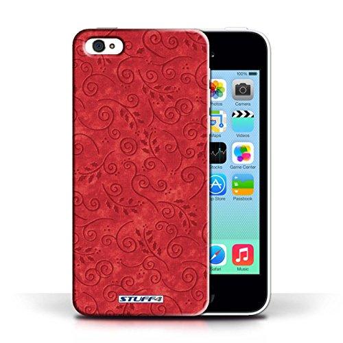 iCHOOSE Print Motif Coque de protection Case / Plastique manchon de telephone Coque pour Apple iPhone 5C / Collection Motif Feuille Remous / Bleu Rouge