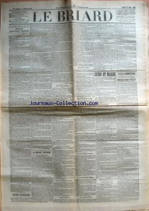 BRIARD (LE) [No 22] du 21/03/1903 - CHRONIQUE BRIARDE - REPUBLICAINS DEGENERES PAR GEROME - PROCEDES NATIONALISTES PAR JEAN JAURES - LA RELIGION NECESSAIRE PAR LOUIS HAVET - NOTRE CLERGE SECULIER - SECRET PROFESSIONNEL - EUX SEULS SONT DANS LA VERITE - L'ESPRIT MILITAIRE - EXECUTION MERITEE - UN CHEMIN DE FER D'EUROPE EN AMERIQUE - L'ASSOCIATION DU MERITE AGRICOLE - LES PERMISSIONS AU REGIMENT - LE CANON FRANCAIS IMITE PAR L'ALLEMAGNE - LA SANTE DU SOLDAT - LES JESUITES - SEINE-ET-MARNE -