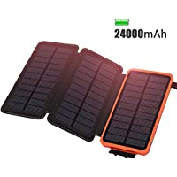 Solar Charger 24000mAh Waterproof Portable Charger, ADDTOP Power Bank with 3 Solar Panels Foldable Battery Pack 2 USB For iPhoneX, 8/7plus, iPad, Samsung, All Smartphone, Outdoor Camping Travelling