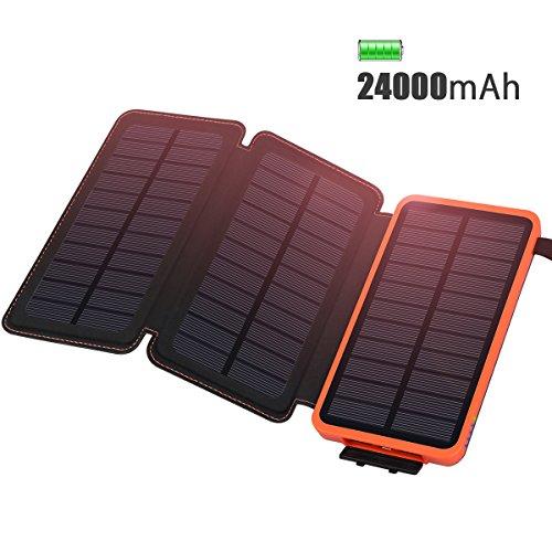 Caricabatterie Solare 24000mAh impermeabile ADDTOP Power Bank con 3 Pannello Solare Portatile Batteria Esterna per iPhone, iPad, Samsung, Huawei, Nexus, Smartphone