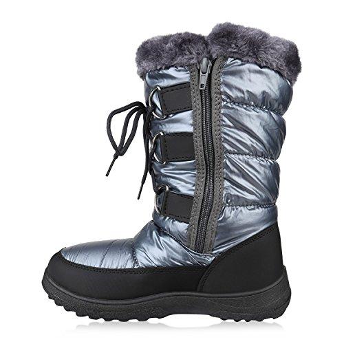 Damen Winterstiefel Warm Gefütterte Stiefel Strass Winter Boots Schnee Schuhe Winterschuhe Profilsohle Snowboots Flandell Schwarz Grau