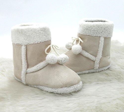 Pantofole Pantofole effetto Alcantara pelle Boots Stivali invernali con pelliccia & Pom pon Super comodo con suola antiscivolo alta comfort verarbeitet Affettuosamente typ381, Poliestere, naturale, Größe 39