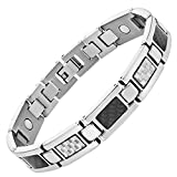 Willis Judd Mens Titanium Magnetic Bracelet Featuring Silver and Black Carbon Fibre Link Removal Tool Included
