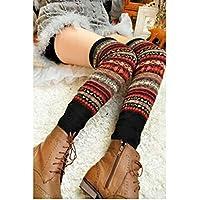 HuaYang New Fashion Women Winter Warm Long Leg Warmers Knit Crochet Socks Legging Stocking(Black)