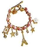 Shining Diva Fashion Stylish Pink Multiple Charm Bracelets for Girls at amazon