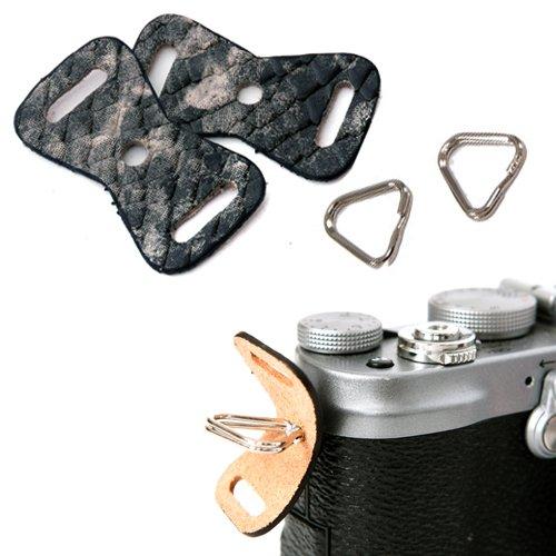 GRIMM D-SLR RF Mirrorless Camera Strap Lug Ring + Leather Cover Set (Anaconda Nero / 1 paio)