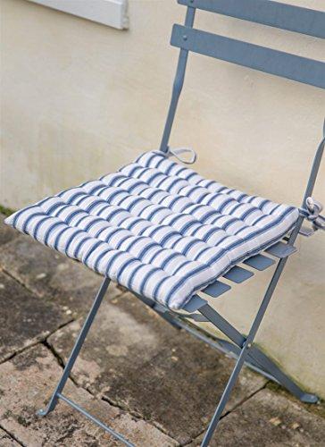 De qualité de style français Bistro Galette de chaise/chaise Coussin d'assise de cuisine avec Ties – Banc de jardin en coton doux/– French de chaises de jardin Bleu/blanc à rayures – 38 cm x 38 cm