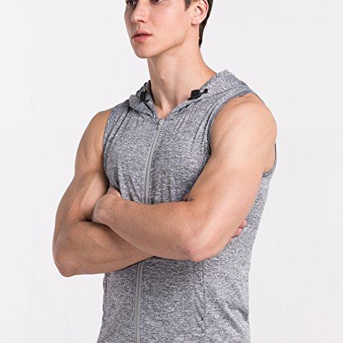 Männer mit Durchgehendem Reißverschluss mit Kapuze Sleeveless Shirt Grau