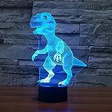 3D Visual Lampe Optische Illusion LED Nacht Licht, Elsley Amazing 7 Farben Dinosaurier Form Touch Sensitive Schalter Lampen mit Acryl Flach, ABS Boden, USB Charge für Home Decor