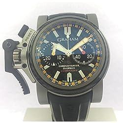 Graham Chronofighter Clock Oversize Commander 2ovatco.bo1a Automatic Titanium quandrante Black Strap CAUCCIU '