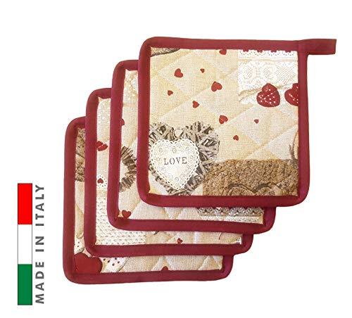 Pezzoli Set 4 presine da Cucina Cuori con Bordo Rosso Molto Resistente al Calore e ai lavaggi in Lavatrice, Solide e Spesse, Misto Poliestere, Made in Italy