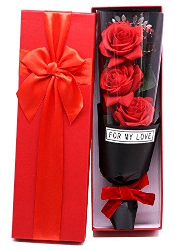 Langxun CAJA DE REGALO DE ROSA DE ROSA DE SEDA ROJA - Elegantemente envuelta de 3 rosas en una caja de regalo encantadora Regalo ideal para el cumpleaños de aniversario Día de la madre Día de San Valentín Navidad