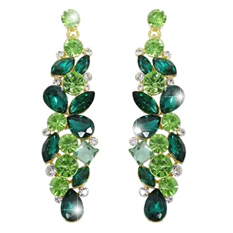 EVER FAITH® Tear Drop Flower Cluster Dangle Earrings Emerald Color May Birthstone Gold-Tone N02056-7