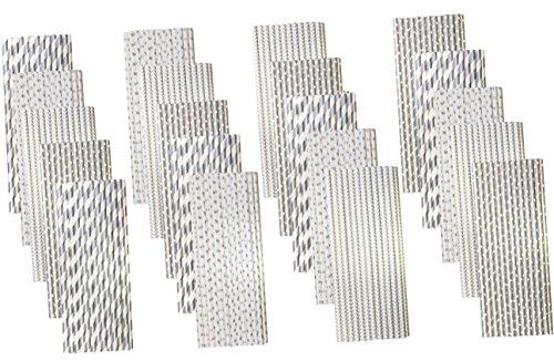 Silber, bulk Pack Papier Trinkhalme-Streifen Chevron Polka Dot-19,7cm-500Pack