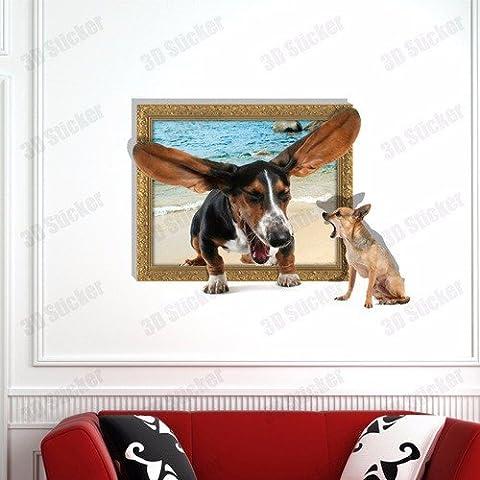 3D( cane litigi ) sfondo parete camera da letto soggiorno divano TV HD sfondo auto carta adesiva