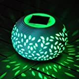 2 X Colour Changing Solar Powered Ceramic LED Light