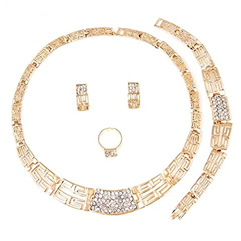 Gold Plated Necklace Earrings Set African Wedding Jewelry Sets Women Costume ...