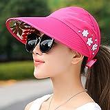 GAOQIANGFENG Hat weibliche outdoor Sonnenschirm Sommer cap Reiten sport Cap anti UV-Sonnenschutz leer Top sun Cap, verstellbar, Pearl Geld - Rose Rot zu Falten