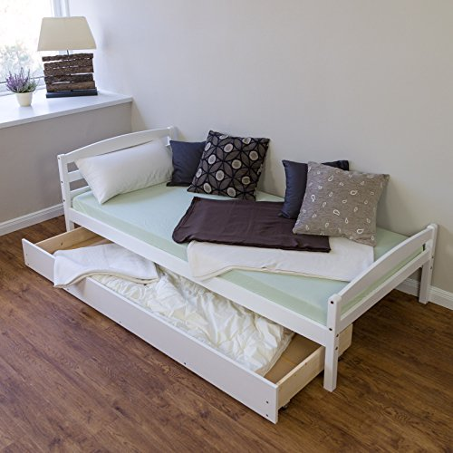 Schlafzimmer-futon-rahmen (Homestyle4u Kiefer massiv Rahmen Single Storage Pull Out Ausziehbett, Holz, natur, 206x 96x 30cm)