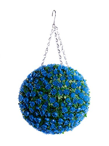Best ArtificialTM 28 cm Boule de fleurs décorative à suspendre - Art topiaire à base de roses - Protection anti-UV contre la décoloration - 28 cm bleu