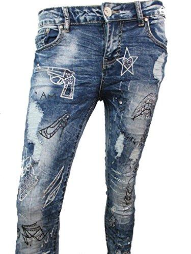 Damen Jeans Stern Strass Blue Denim Röhre Camouflage Stars Statementprint