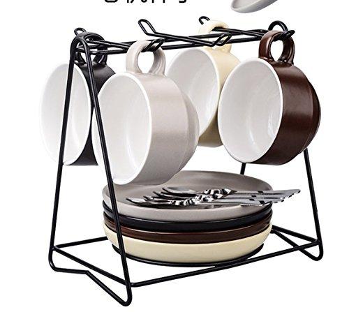 TBSB Besteck Keramik Kaffee Kaffeeservice Austragsrechen einfache Cappuccinocup mit Saucer...