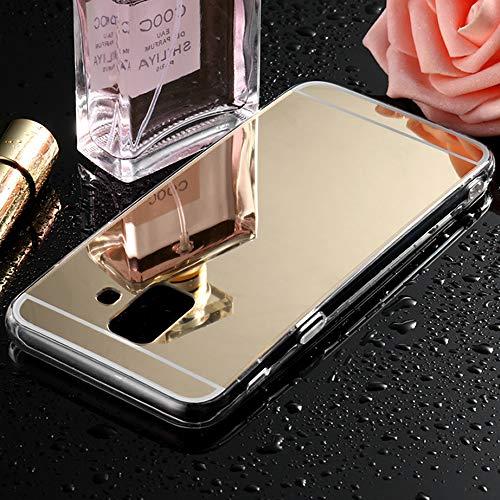 Gold-farb-bildschirm (Sycode Galaxy A6 2018 Spiegel Hülle,Galaxy A6 2018 Handyhülle,Mirror Spiegel Mirror Handy Tasche Bumper Schutzhülle für Samsung Galaxy A6 2018-Gold)