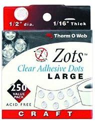 Therm-o-Web Zots - Puntos adhesivos (grandes, 1,27 cm, 250 unidades), color transparente