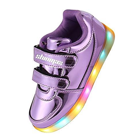 Shinmax® Goldene Kindheit-Serie Multi Color USB-Lade Kid Schuhe Blink Turnschuhe für Jungen und Mädchen (37, Purple)