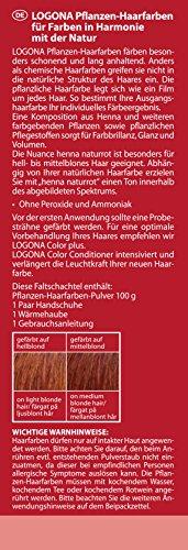LOGONA Naturkosmetik Coloration Pflanzenhaarfarbe, Pulver - 030 Naturrot - Rot, Natürliche & pflegende Haarfärbung (100g) - 3