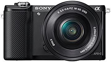 Sony ILCE5000L Compact System Camera with SEL-1650 Zoom Lens (20.1 MP, 180 Degrees Tiltable LCD, Wi-Fi and NFC ) - Black