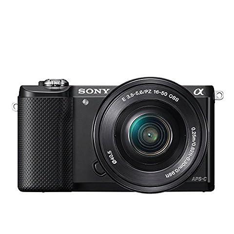 Sony Alpha 5000 Systemkamera (Full HD, 20 Megapixel, Exmor APS-C HD CMOS Sensor, 7,6 cm (3 Zoll) Schwenkdisplay) schwarz inkl. SEL-P1650