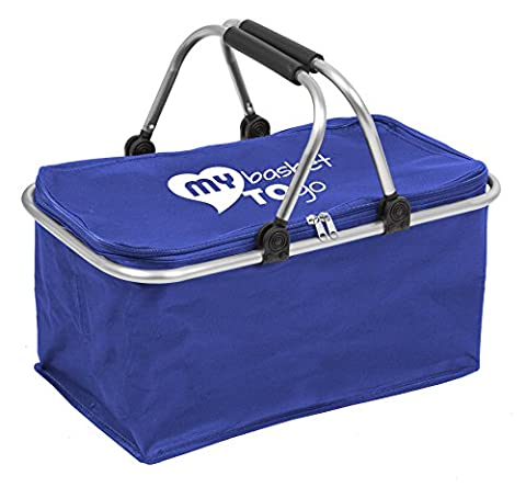 Collapsible shopping carrybag | foldable picnic basket | MY BASKET TO GO | water-resistant l beach bag with comfortable handles | large, light-weight, closable, reinforced | OCEAN