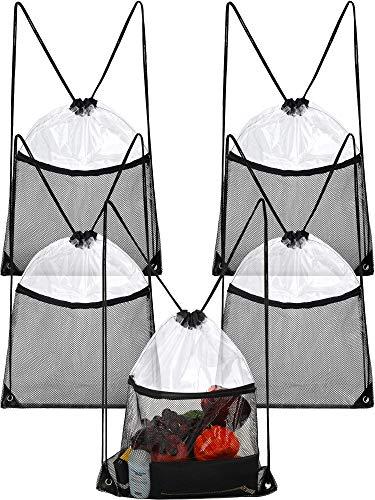 Frienda 5 Stücke Klare Kordelzug Tasche Transparenter Kordelzug Rucksack mit Reißverschluss Netztasche für Sport (5 Taschen Reißverschluss Mit)