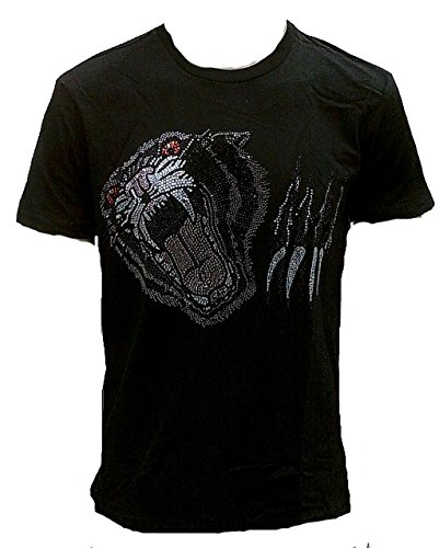 Ticila Herren Men T-Shirt Schwarz Original Crystal Strass Steine Special Edition BLACK PANTHER Rock Star Tattoo Clubwear Diamante Glitzer Bling Designer Teil S 46/48