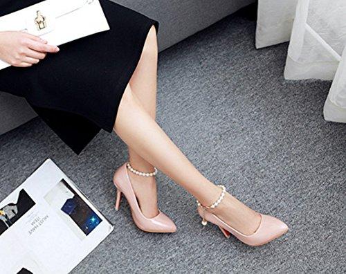 Aisun Damen Elegant Lackleder Spitz Zehe Low Cut Stiletto Pumps Mit Künstlich Perlen Knöchelriemchen Aprikosenfarben