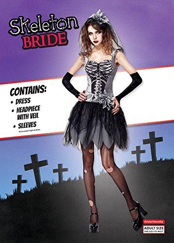 Skelett Braut Kostüm (Bristol Novelty AF031Skelett Braut-Outfit, grau, UK)