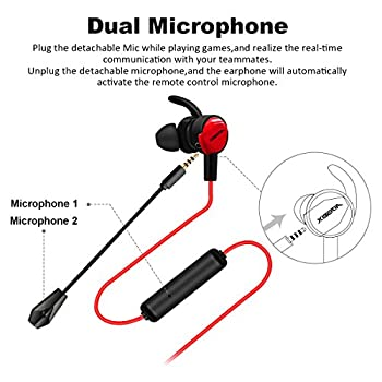 Auricolare Gaming, ELEGIANT Cuffie Gaming In Ear con due Microfoni Stereo Bass per Iphone XS XS max XR x 8 IPad Samsung S9 S9+ Huawei P20 10 HTC LG Laptop Tablet PC Mp3 Mp4 PS4 Mac Xbox One ecc