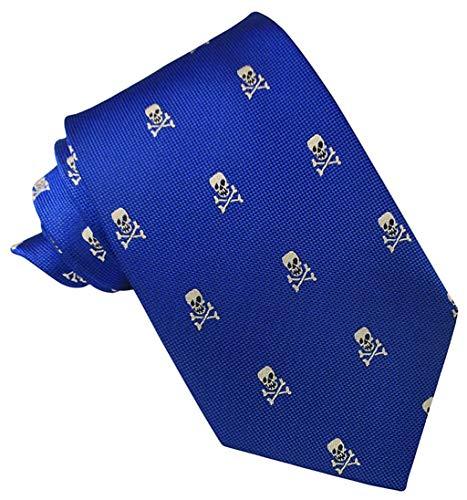JOSVIL Corbata Seda Azul Royal Calaveras Beige