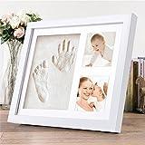 Baby Handabdruck und Fußabdruck, Migimi Baby Bilderrahmen mit Gipsabdruck Erinnerungen für die Ewigkeit und Foto als Andenken für die ersten Jahre Ihres Kleinkindes - ideale Babyparty Geschenk