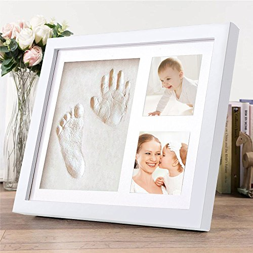 Baby Bilderrahmen mit Gipsabdruck, Migimi Baby Handabdruck und Fußabdruck Fotoalbum mit schadstofffreiem Lehm - Personalisiertes Geschenk, süße Erinnerung