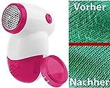 PEARL Wollrasierer: Mini-Fusselrasierer mit Metall-Flusengitter & Batterie, weiß/pink (Entfussler)