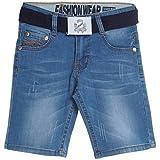Jungen Kinder Cargo Kurze Hose Bermuda Shorts Capri Vintage Sport Strech 20380, Farbe:Blau;Größe:128