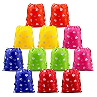 Party Bags Paw Drawstring Goodie Bags Reusable 12pcs, Kids Party Ideas Birthday Party Supplies Give Aways Bags, Treat Pouches for Girls Boys Toddlers