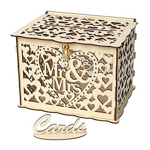 Surenhap Hochzeit Karte Box Brief-Box mit Schloss DIY rustikale Geschenkbox Gästebuch für Empfang Hochzeitstag, Mr & Mrs (B) (Hochzeit Geschenk-boxen Für Karten)