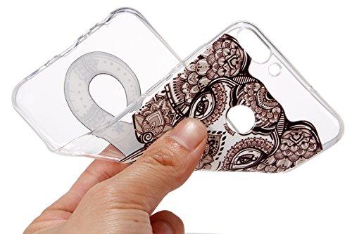 Surakey Compatible avec Coque Huawei P Smart Étui Huawei Enjoy 7S Transparente Silicone Gel TPU Souple Housse Etui Anti-Scratch TPU Bumper Case Housse de Protection, Éléphant
