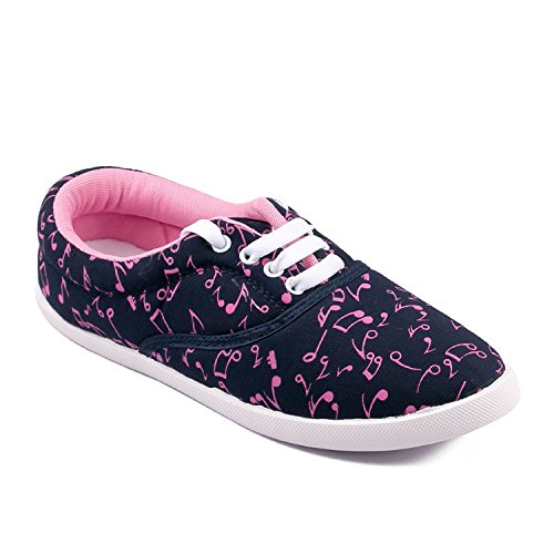 Asian shoes Amy-23 Navy Blue Pink Women Canvas Shoes 6UK/Indian