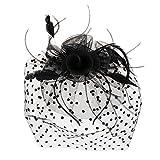 Sharplace Fascinator Blume Mesh Federn auf Einem Stirnband und Einem geteilten Clip Cocktail Tee Party Kopfschmuck für Mädchen und Frauen