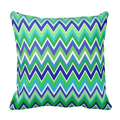 DEFFWBb Lovest Unique Turquoise Cobalt Blue Green Chevron Zig Zag Print Pillows Best Pillowcase Custom Zip Throw Pillow Case Cover (Standard 18X18 Inch) Tiger Chevron Print