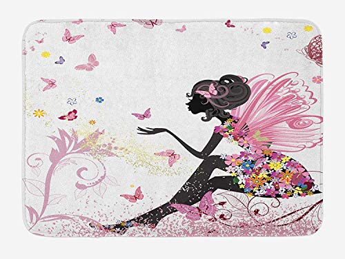 CHKWYN Girls Bath Mat by, Fairy Girl with Wings in a Floral Dress Magical Fantasy Garden Flying Butterflies, Plush Bathroom Decor Mat with Non Slip Backing, 23.6 W X 15.7 W Inches, Multicolor - Butterfly Garden Tray